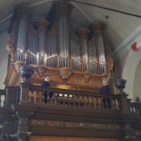 Maldegem, Sinte-Barbarakerk.Eric van Ransbeeck aan het Hooghuysorgel.